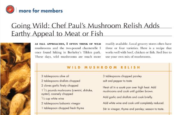 Mushroom relish recipe