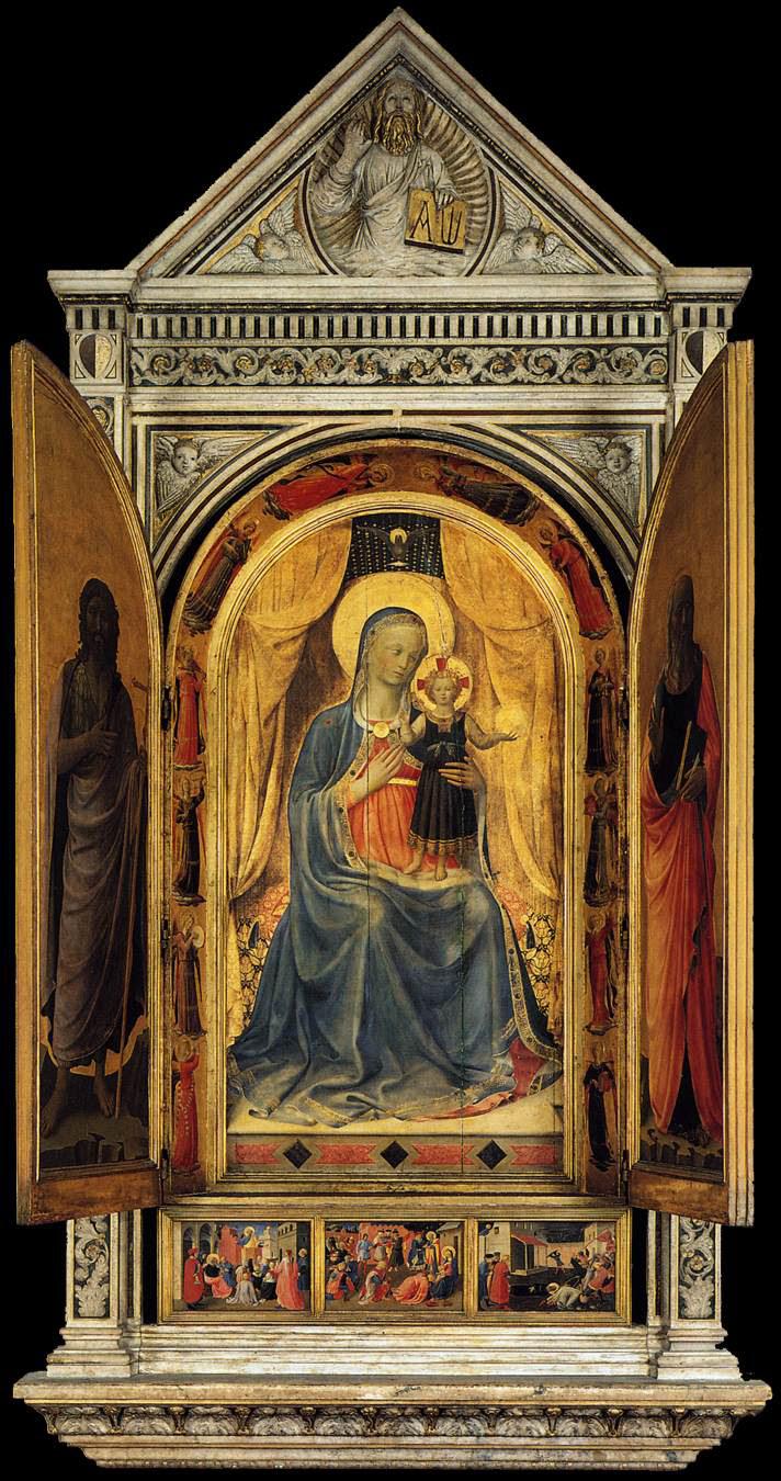 El Tabernáculo de Linaioli, 1432–35, témpera sobre madera, 260 cm x 330 cm, Florencia, Museo de San Marco.