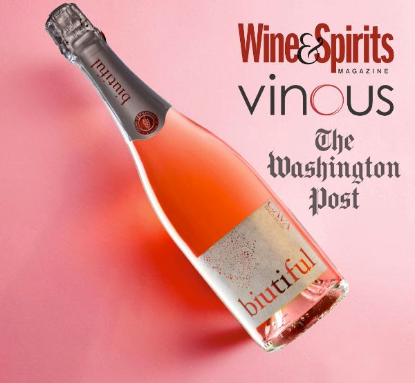 Bottle of  Biutiful Cava Brut Rosé by Isaac Fernandez with Wine & Spirits Magazine, Vinous and The Washington Post word logos.