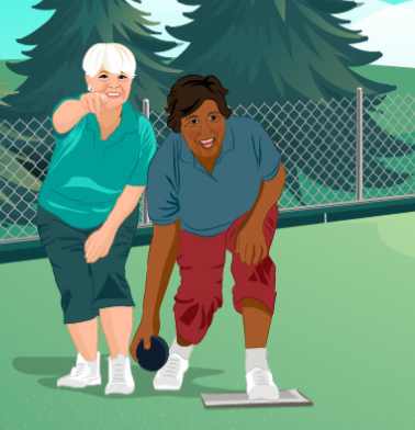 Two animated bowlers