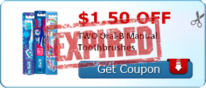 $1.50 off TWO Oral-B Manual Toothbrushes