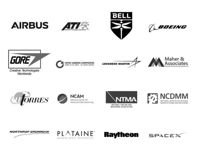 The AeroDef Manufacturing 2019 Executive Committee includes leaders from Airbus, ATI, Bell, Boeing, Gore, Hitco Carbon Composites, Lockheed Martin, Maher & Associates, MTorres, National Center for Advanced Manufacturing, National Tooling & Machining Association, National Center for Defense Manufacturing & Machining, Northrop Grumman, Raytheon and SpaceX.