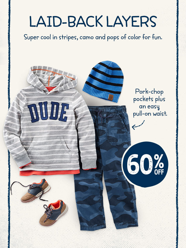 Laid-back layers | Super cool in stripes, camo and pops of color for fun. Pork-chop pockets plus an easy pull-on waist. 60% off