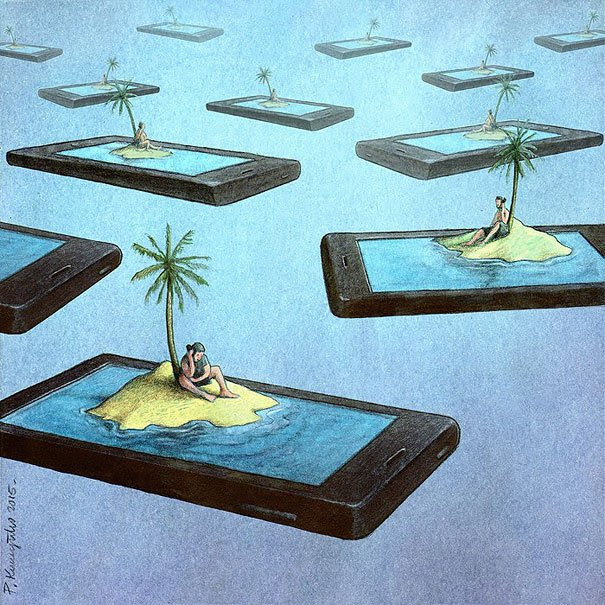 Satirical Illustrations Addiction to Technology9