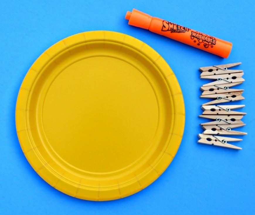 Just 3 items needed to make paper plate clothespin sun.
