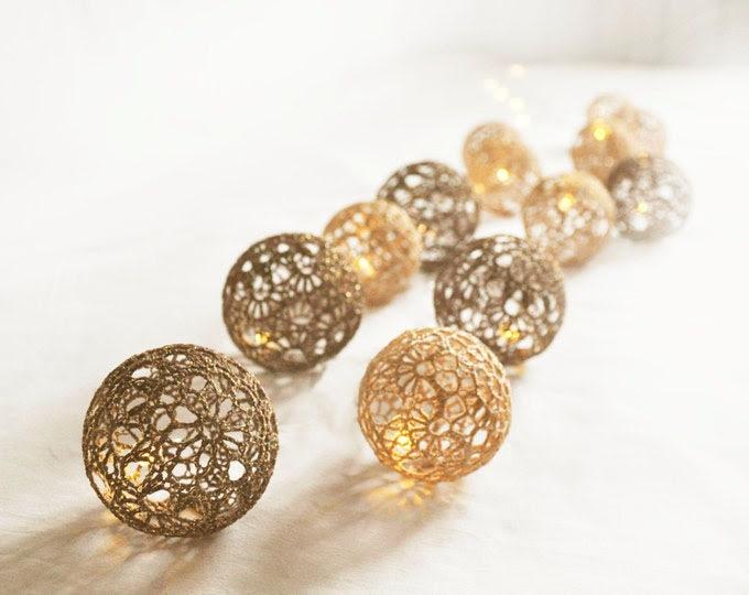 String Lights,Fairy Lights Wedding LED Lights, Bedroom Decor lamps, 20 Brown Gold Lace Crocheted balls, Night Lights garland light