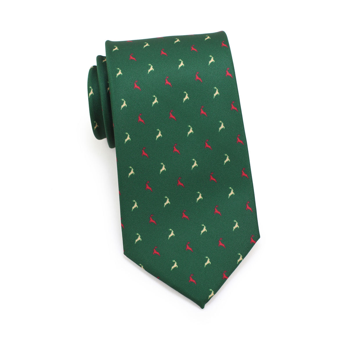 reindeer design mens tie in hunter green