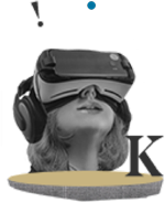 Woman with VR goggle looking up