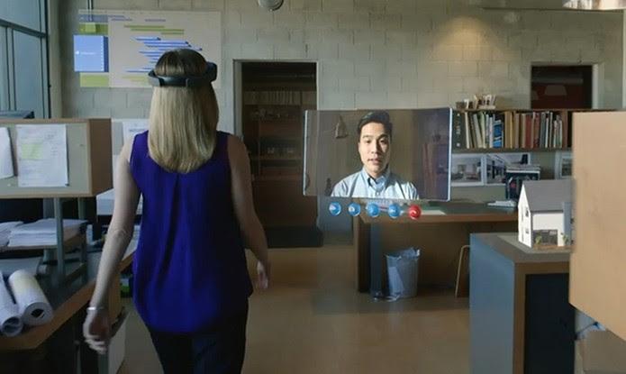 Windows Holográfico: faça conferências por Skype (Foto: Reprodução/Barbara Mannara)
