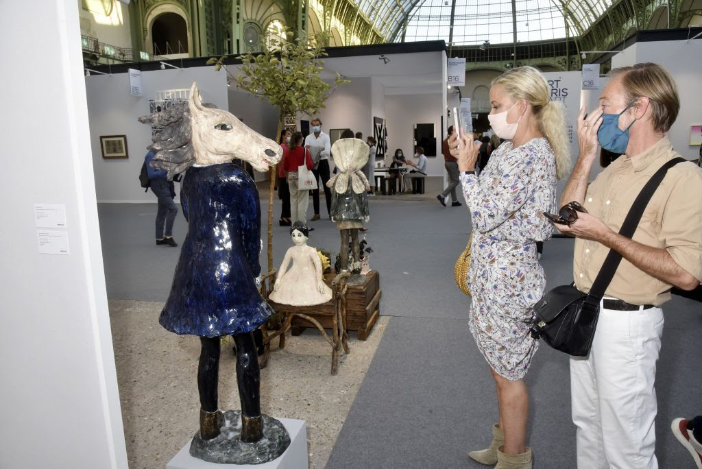 A general view of the atmosphere during 2020 Art Paris Art Fair: Preview at Grand Palais on September 9, in Paris, France. Photo by Foc Kan/WireImage.
