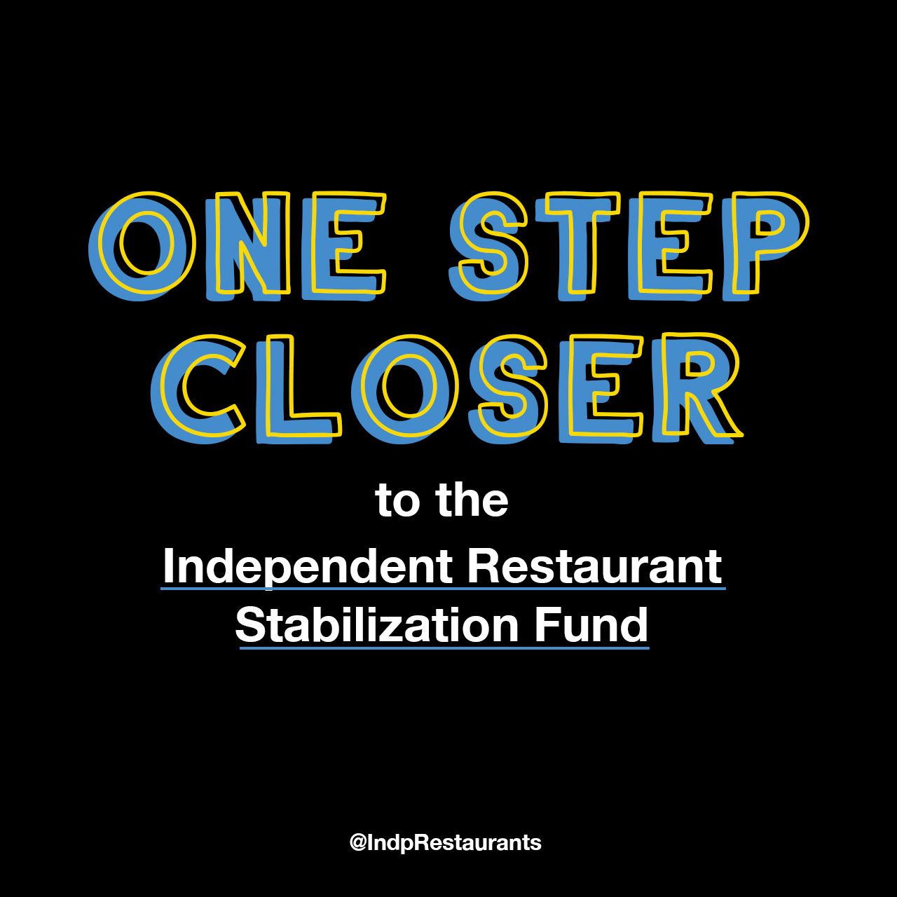 One step closer to the independent restaurant stabilization fund