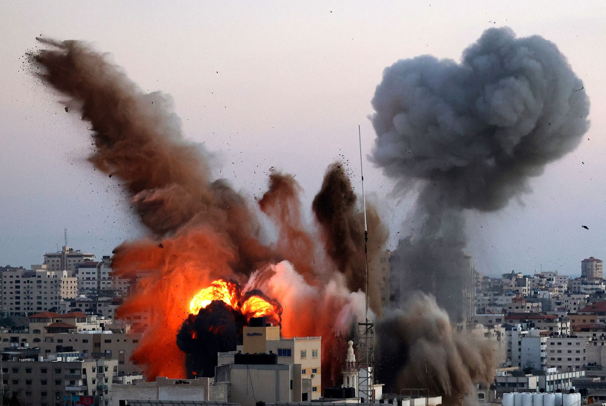 An explosion in Gaza after an Israeli airstrike