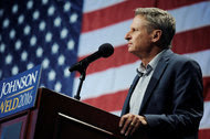 Gary Johnson, the presidential candidate for the Libertarian Party, spoke at a rally in New York last week.