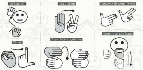 Projeto prevê símbolos em Libras para identificar 40 monumentos do Recife e de Olinda. Exemplos de pictolibras sugeridos para as placas de sinalização turística