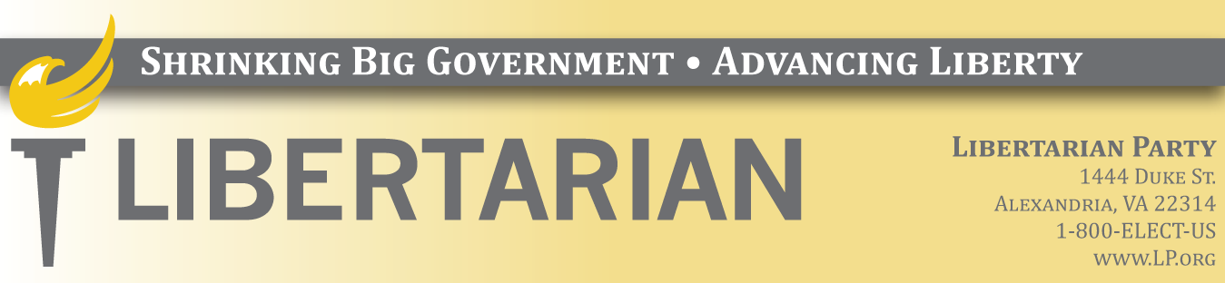 Libertarian Party banner with torch logo and address (graphic)