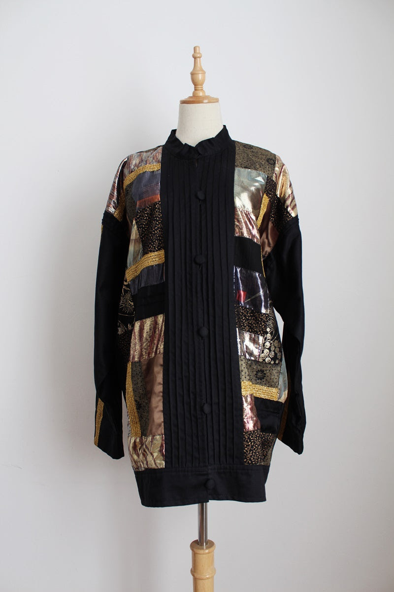VINTAGE PATCHWORK QUILT BLACK GOLD JACKET - SIZE 16