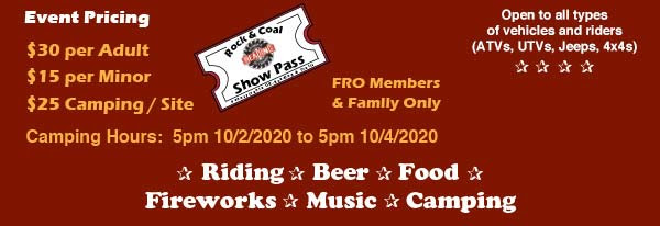 Fun for the Whole Family: Huey's Concessions & Small Rides | FRO Rock & Coal Ride | Saturday, October 3rd at 11am to 9pm