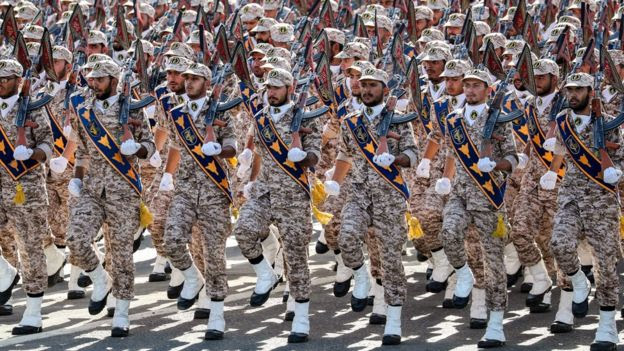 Members of Iran's Islamic Revolutionary Guard Corp marching during a military parade