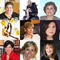9 individual photos of speakers at the training for Jewish women