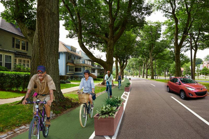 A rendering of a possible design for a protected bike lane on the Arborway
