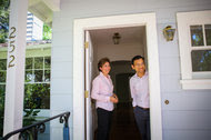 Colleen Foraker, left, a Sotheby's agent, and her client, Mukul Gupta, at his soon-to-be home in Palo Alto, Calif.