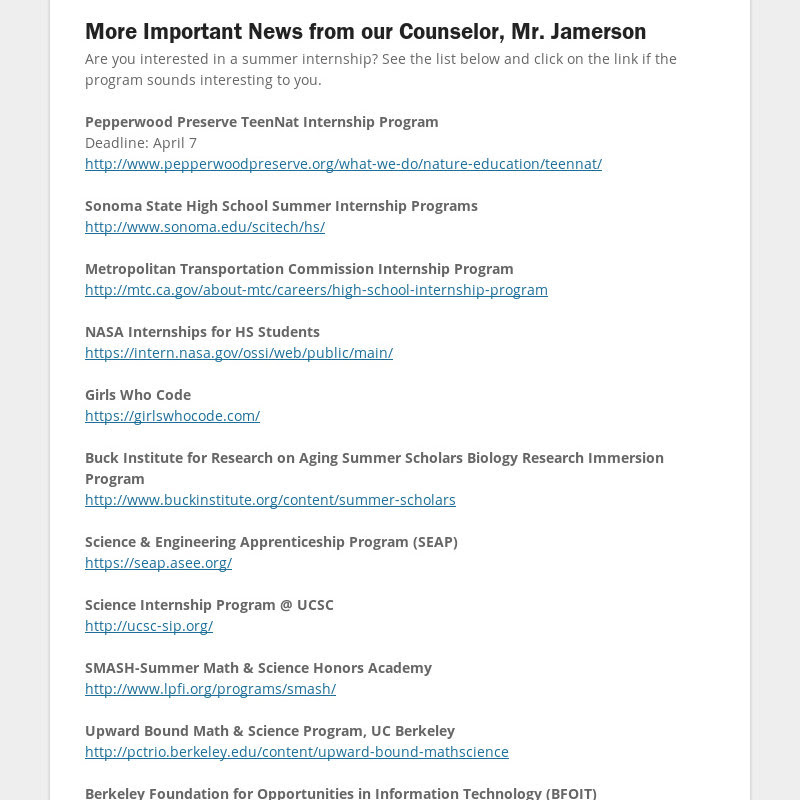 More Important News from our Counselor, Mr. Jamerson
