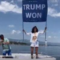 Osama bin Laden's niece holds pro-Trump sign