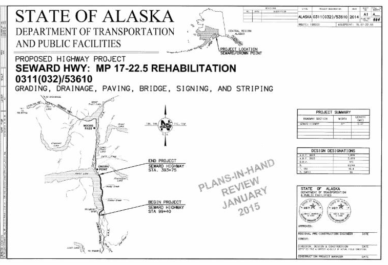 Seward Hwy MP 17-22.5 Rehabilitation Project – 75% Plan Review