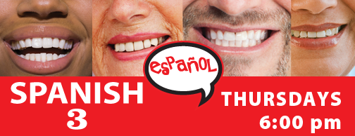 Spanish 3 - Thursdays 6:00pm, Aug 29-Oct 31