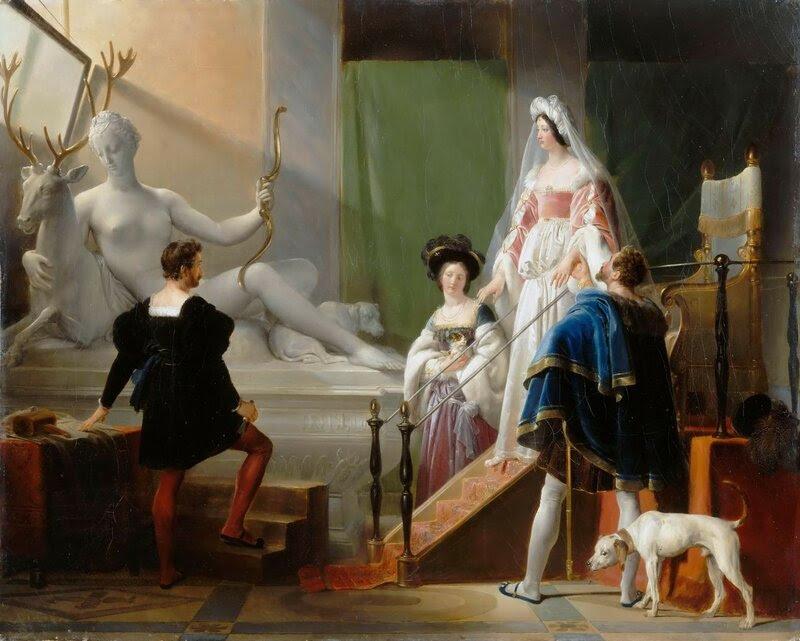 """Картина Фрагонара """"Генрих II и Диана в мастерской Жана Гужона""""."""