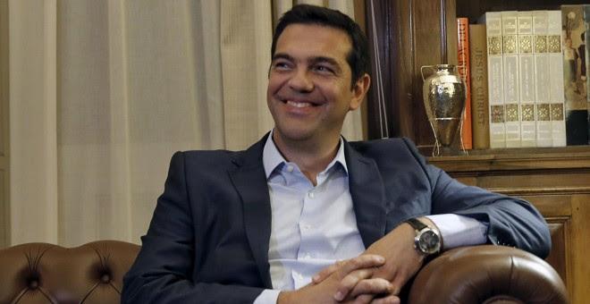 Alexis Tsipras, durante su reunión con el presidente de la república para comunicarle su dimisión. REUTERS