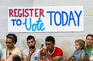 A voter registration event in Philadelphia in August.