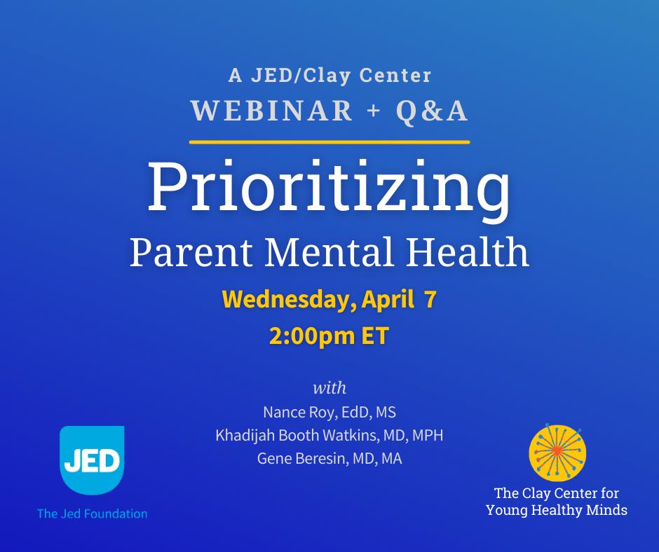 Prioritizing Parent Mental Health - Webinar Graphic
