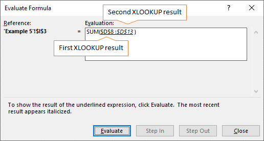 first and second XLOOKUP result