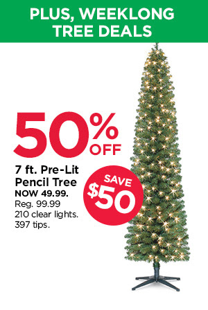 7 ft. Pre-Lit Pencil Tree