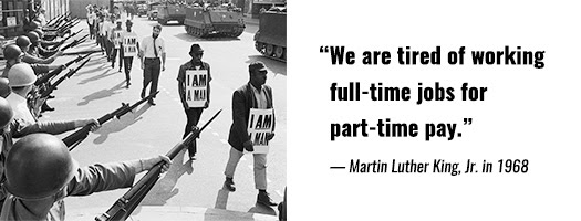 Marchers at the 1968 Memphis Sanitation Workers Strike