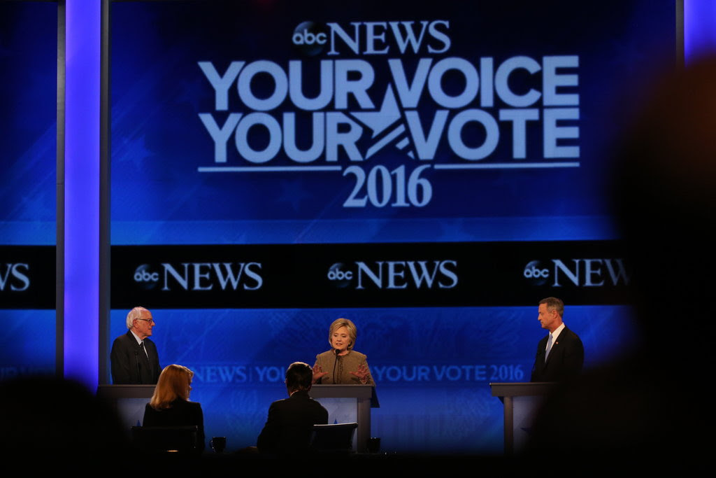 Senator Bernie Sanders, Hillary Clinton and Martin O'Malley participated in the Democratic presidential debate Saturday night hosted by ABC News at Saint Anselm College in Manchester, N.H.