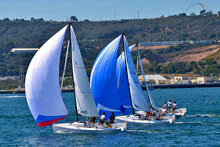 J/70s sailing off San Diego in Hot Rum series