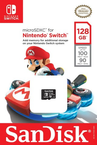 The Nintendo-licensed 64 GB and 128 GB microSDXC SanDisk memory cards will be available at select re ...