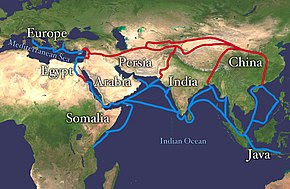 Map of Eurasia with drawn lines for overland and maritime routes