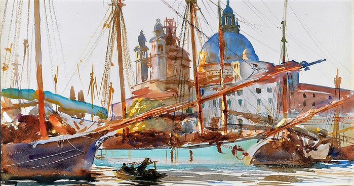 Джон Сингер Сарджент, «Лодки у церкви Санта-Мария-делла-Салюте, Венеция» (1909) (700x368, 121Kb)