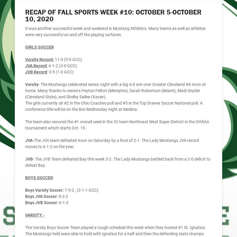 RECAP OF FALL SPORTS WEEK #10: OCTOBER 5-OCTOBER 10, 2020 It was another successful week and...