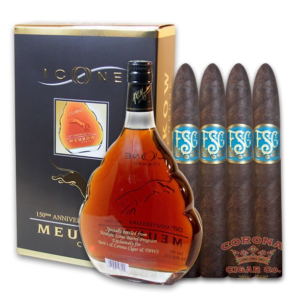 Image of Corona Cigar Single Barrel Meukow Icone Cognac Package