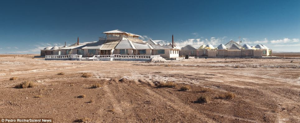 The Palacio de Sal is located on the edge of Bolivia's Salar de Uyuni - the largest salt flat in the world