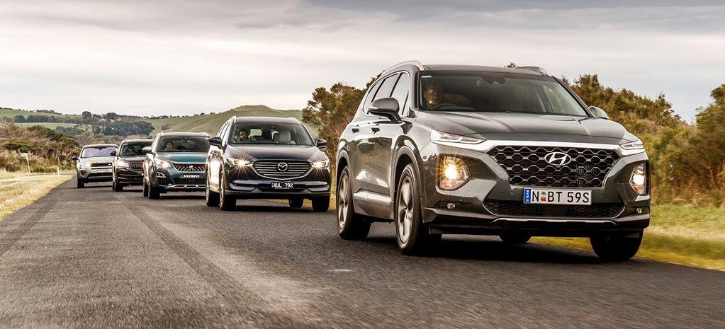 Mazda CX-8 v Hyundai Santa Fe v Land Rover Discovery Sport v Peugeot 5008 v Skoda Kodiaq comparison review