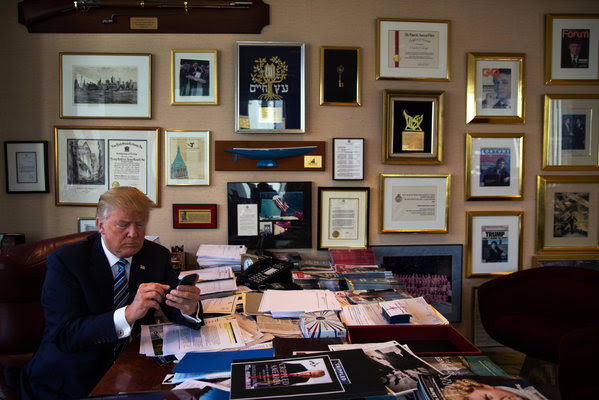 President-elect Donald J. Trump, demonstrating his tweeting skills in his office at Trump Tower in New York.