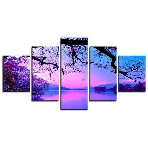 5 Panel Framed Wall Art (Purple Sunset)