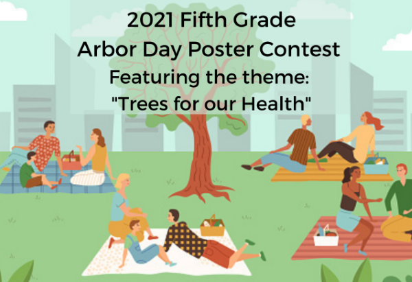 Arbor Day image of people in a park advertising 5th grade poster contest