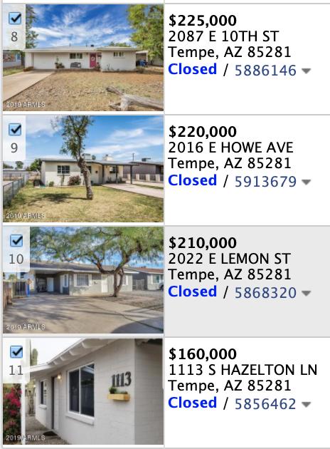 1115 S Hazelton Ln Tempe, AZ 85281 comps list