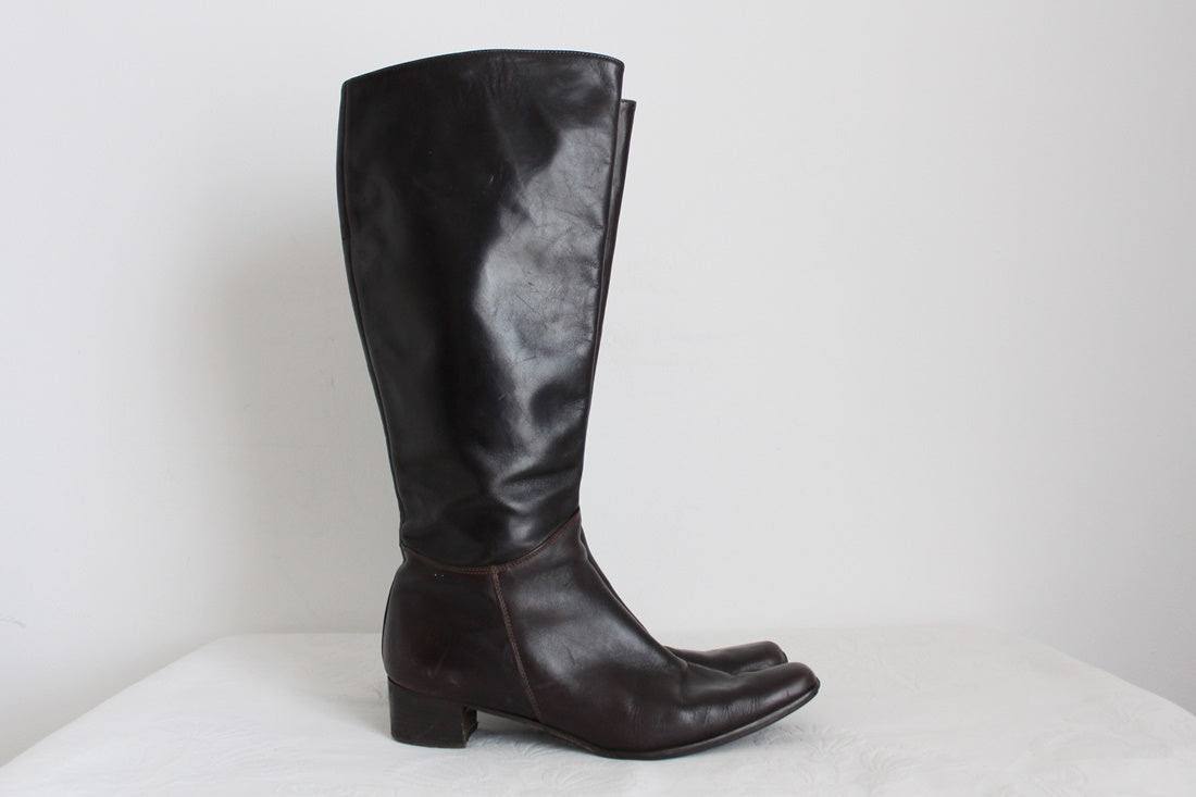 CARDINALE GENUINE LEATHER BROWN BOOTS - SIZE 6